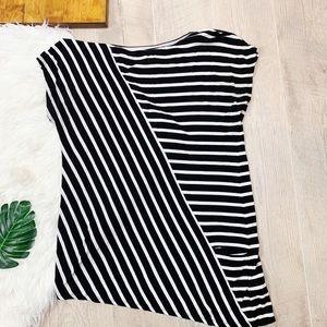 WHBM Asymmetrical Striped Cap Sleeve Blouse B1623